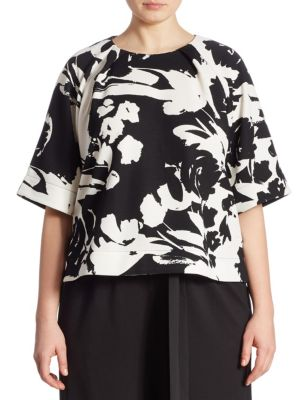 Floral-Print Blouse by joan vass