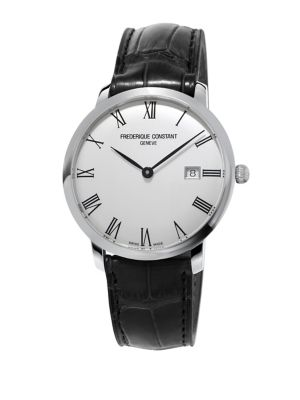 """Image of Sleek watch with a stainless steel date window. Automatic-self-wind. Water resistant to 3 ATM. Round polished stainless steel case, 40mm (1.5"""").Knurled crown. Smooth bezel. Silver dial. Date display at 3 o'clock. Roman hour marker. Buckle closure. Made in"""
