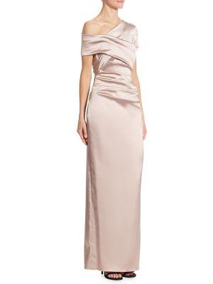 TALBOT RUNHOF Ruched Satin One-Shoulder Gown in Pink