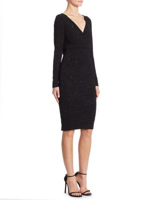 TALBOT RUNHOF Embellished Jersey Sheath Dress in Black