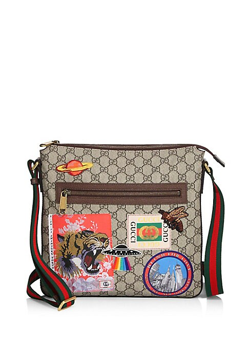Image of Travel continues to be a source of inspiration for Alessandro Michele. A collection of bags in the GG motif is enriched with a blend of contemporary embroideries-like the UFO-and vintage inspired details, including airmail trims and a Gucci print from the