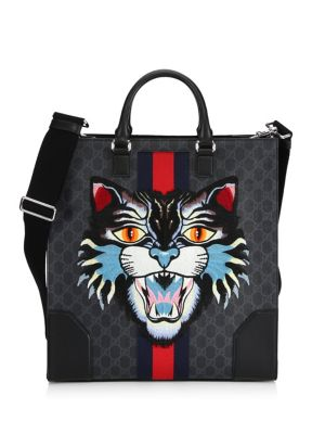 Angry Cat Leather-Trimmed Appliquéd Monogrammed Coated-Canvas Tote Bag in Grey