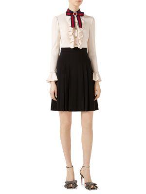 Ruffle-Front Pleated Jersey Dress