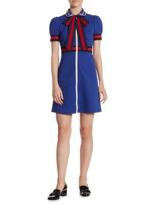 Sylvie Web Bow-Detail Zip-Front Jersey Dress