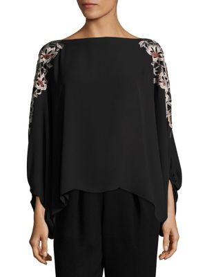 Embroidered Poet Sleeve Top by Josie Natori