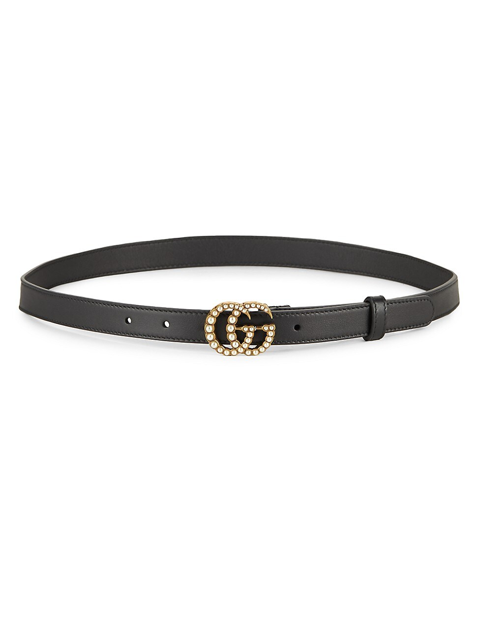 Gucci WOMEN'S PEARLY GG LEATHER BELT