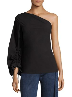 One -Shoulder Balloon Top by Josie Natori