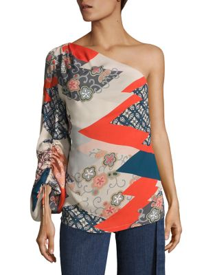 Floral Print One-Shoulder Top by Josie Natori