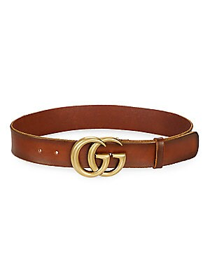 f4c427377e Gucci - Leather Belt with Double G Buckle - saks.com
