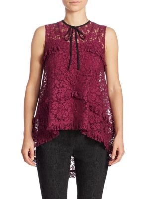 Bessie Lace Ruffle Top by Erdem