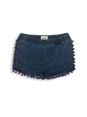 Toddlers Little Girls  Girls Chambray PomPom Shorts