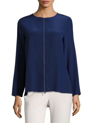 Crystal Seam Silk Blouse by Peserico