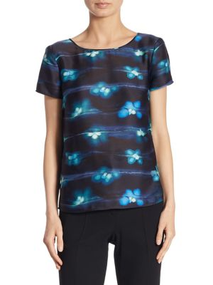 Electric Floral Silk Tee by Armani Collezioni