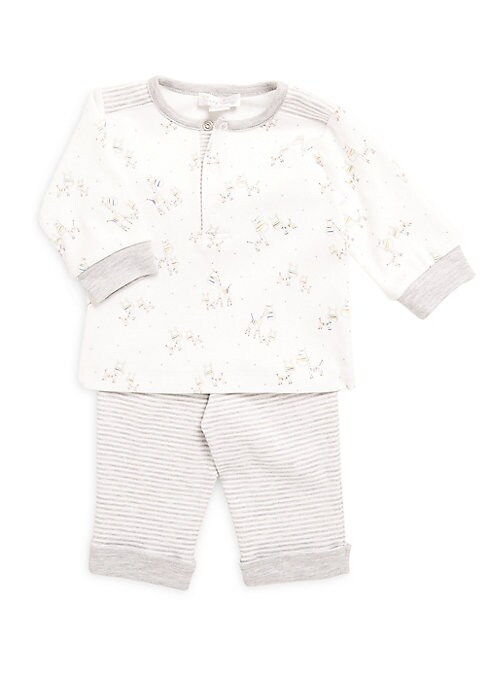 Image of This reversible play suit has cool all-over giraffe print in tops and stripe updates on the pant. It is made of soft plush velour fabric. Cotton/polyester. Machine wash. Imported. Top:.Roundneck. Front snap button closure. Long sleeves with banded cuffs.