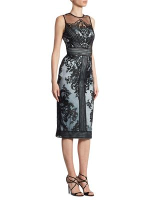 Embroidered Illusion Sheath Dress
