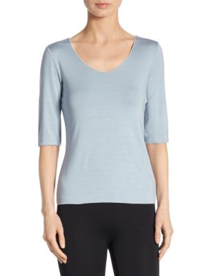Elbow-Sleeve Tee by Armani Collezioni