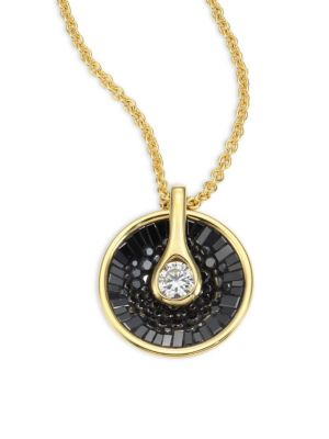 PLEVÉ Opus Black Diamond & 18K Yellow Gold Pendant Necklace in Gold Black