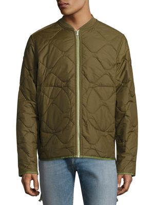 Image of On-trend jacket with a quilted design. Stand collar. Long sleeves. Side patch pockets. Exposed front zip. Nylon. Machine wash. Imported.