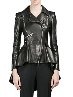 4d70c7d8cac9a4 QUICK VIEW. Alexander McQueen. Leather Peplum Jacket. $5195.00 · Cropped  Cigarette Trousers BLACK