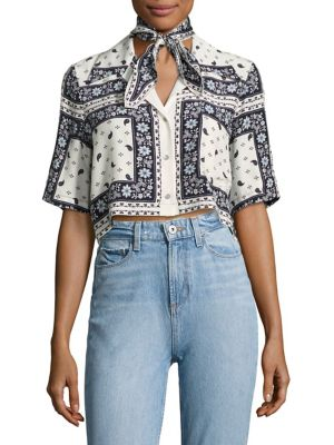Dani Cropped Scarf-Print Silk Camp Shirt by