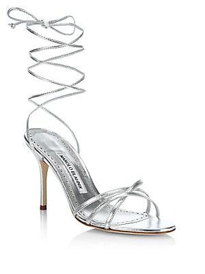 91826f49ac Manolo Blahnik - Leva 90 Metallic Leather Ankle-Wrap Sandals - saks.com