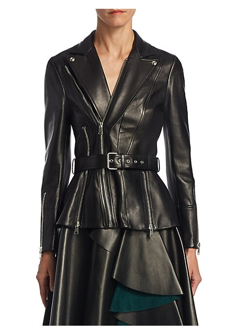 """Image of Belted leather jacket with edgy zip details. Notch lapels. Long sleeves. Zipped cuffs. Front zip detail. Belted waist. About 25"""" from shoulder to hem. Leather. Dry clean. Made in Italy. Model shown is 5'10"""" (177cm) wearing US size 4."""