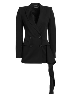 Draped Satin-Trimmed Wool-Crepe Blazer in Black