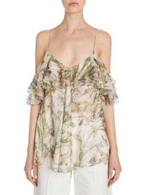 Ruffled Floral-Print Silk Cold-Shoulder Top by Alexander McQueen