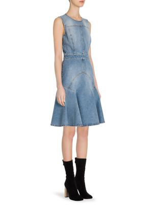Paneled Denim A Line Dress by Alexander Mc Queen