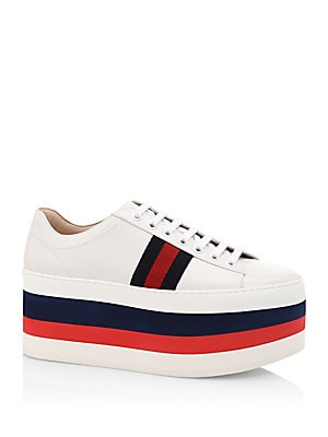6bc6090bc752 Gucci - Peggy Leather Rainbow Platform Sneakers - saks.com