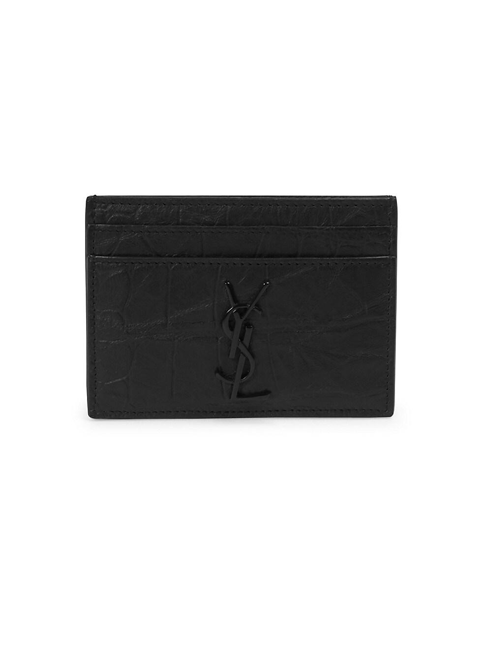생 로랑 Saint Laurent Embossed Leather Cardholder,BLACK