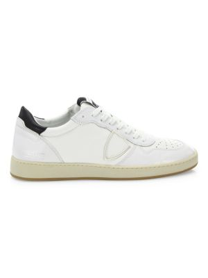 Off Court Leather High Top Sneakers, White Black