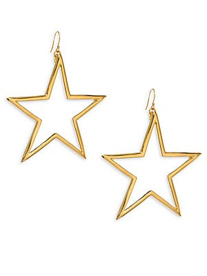 "Image of Oversize open star earring exudes statement style Goldtone Width, 1.5"" Drop, 3"" Ear wire Made in USA. Fashion Jewelry - Trend Jewelry. Kenneth Jay Lane. Color: Gold."