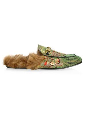 84ad00721f1 Gucci Princetown Dragon Jacquard   Fur Slippers In Green