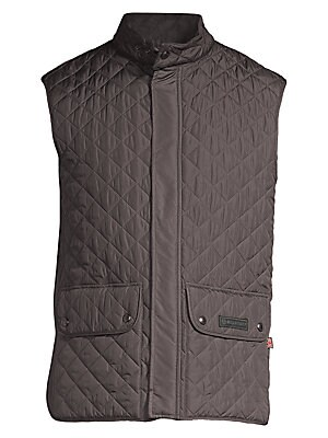 Image of Attractive diamond quilted pattern styles this coat Stand collar Sleeveless Snap button front Waist double buttoned pockets Polyester Machine wash Imported. Men Advcd Dsgnr - Men's Designer Rtw. Belstaff. Color: Black. Size: 48 (38).