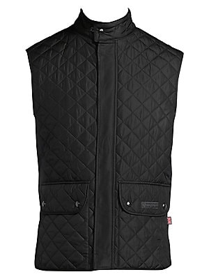 Image of Attractive diamond quilted pattern styles this coat Stand collar Sleeveless Snap button front Waist double buttoned pockets Polyester Machine wash Imported. Men Advcd Dsgnr - Men's Designer Rtw > Saks Fifth Avenue. Belstaff. Color: Black. Size: 48 (38).