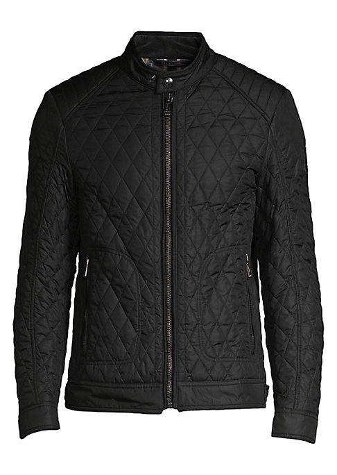 Image of Cool jacket enhanced with diamond quilted design. Snapped banded collar. Long sleeves. Snap tab cuffs. Zip front. Waist zipper pockets. Side adjustable flex button tabs at hem. Polyester. Machine wash. Imported.