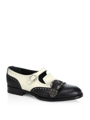 Queercore Brogue Leather Monk Shoes in Black