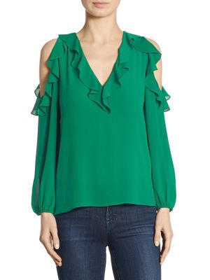 Gia Ruffle Cold Shoulder Top by Alice + Olivia