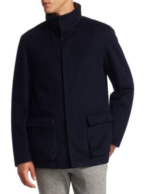LORO PIANA Winter Voyager Cashmere Storm System Coat in Midnight