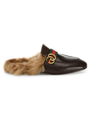 Gucci New Princetown Fur & Leather Mules