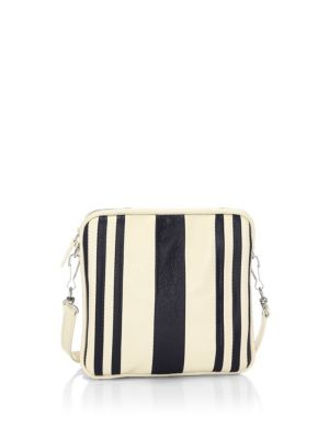 """Image of .Stripe detail enhance the look of this leather mini bag. .Removable, adjustable crossbody straps. .Top zip closure. .One interior slip pocket. .7.5""""H x 7""""W x 0.75""""D. .Leather. .Made in Italy."""