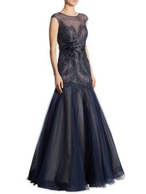 Beaded Tulle Mermaid Gown