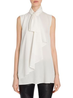 Heavy Georgette Bow Top by Alexander McQueen
