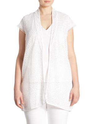 Joan Vass Open Front Lace Vest