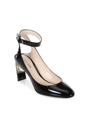 Lola Pearl Patent Leather Ankle Strap Pumps in Black