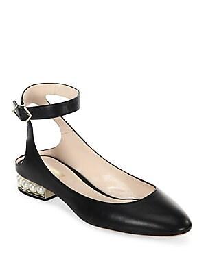 Nicholas Kirkwood. Lola Pearl Leather Ankle Strap Ballet Flats
