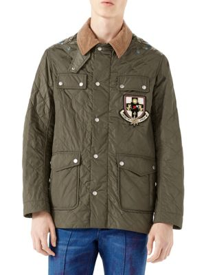 Gucci Militarys Quilted Applique Nylon Jacket