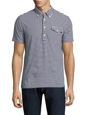 "Image of Cotton polo featuring leek stripes in a patriotic palette. Spread collar. Short sleeves. Four-button placket. Chest patch pocket with button closure. Slim-fit. About 28"" from shoulder to hem. Cotton. Machine wash. Imported."