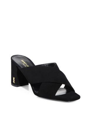 Loulou Suede Slide Sandal, Black